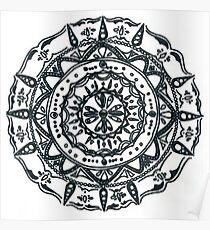 Hindu/ Buddhist Black and White Mandala Poster