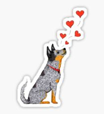 Australian Cattle Dog, Blue Heeler (Floating Hearts), by Artwork by AK Sticker