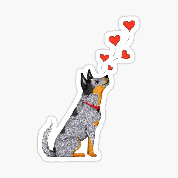 Australian Cattle Dog, Blue Heeler (Floating Hearts), by Artwork by AK Sticker