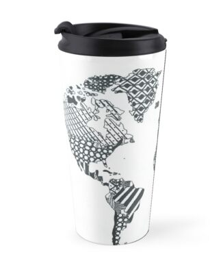 Patterned world map travel mugs by luckylucy redbubble patterned world map sciox Image collections