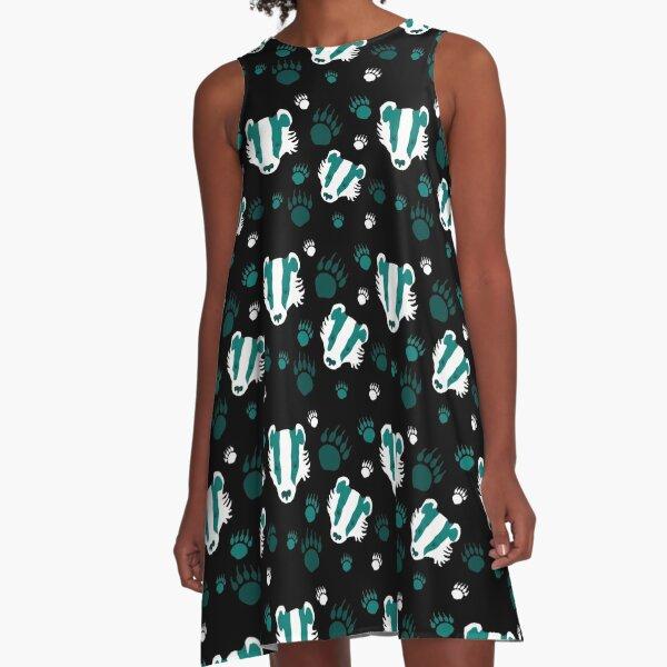 Badger prints in teal A-Line Dress