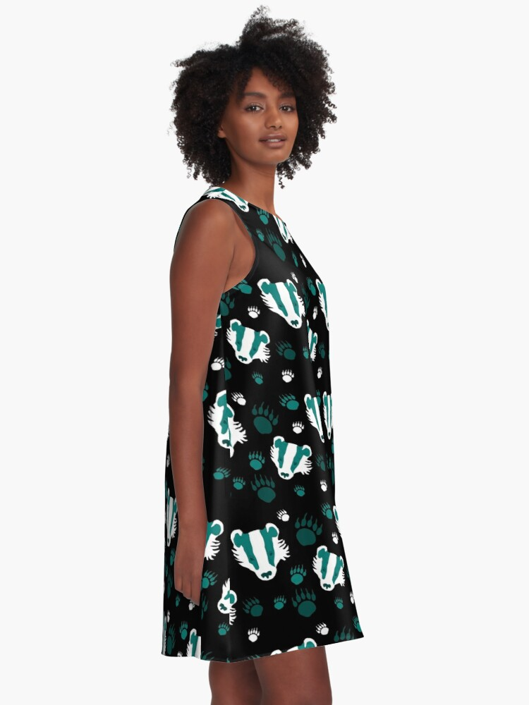Alternate view of Badger prints in teal A-Line Dress