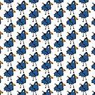 Business Bird - Blue - cute bird pattern by Cecca Designs by Cecca-Designs