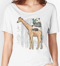 Panda Riding Giraffe Shirt - Funny Panda Bear Riding a Giraffe  Women's Relaxed Fit T-Shirt