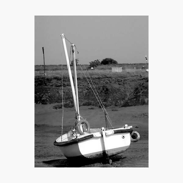 Beached boat, Woodrolfe Creek, Essex  Photographic Print