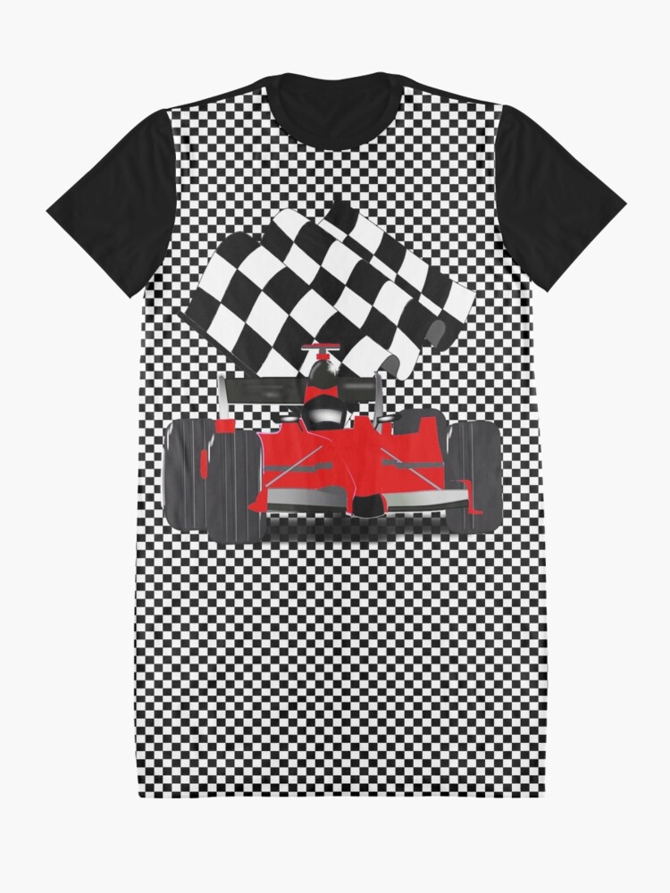 Alternate view of Red  Race Car with Checkered Flag Graphic T-Shirt Dress