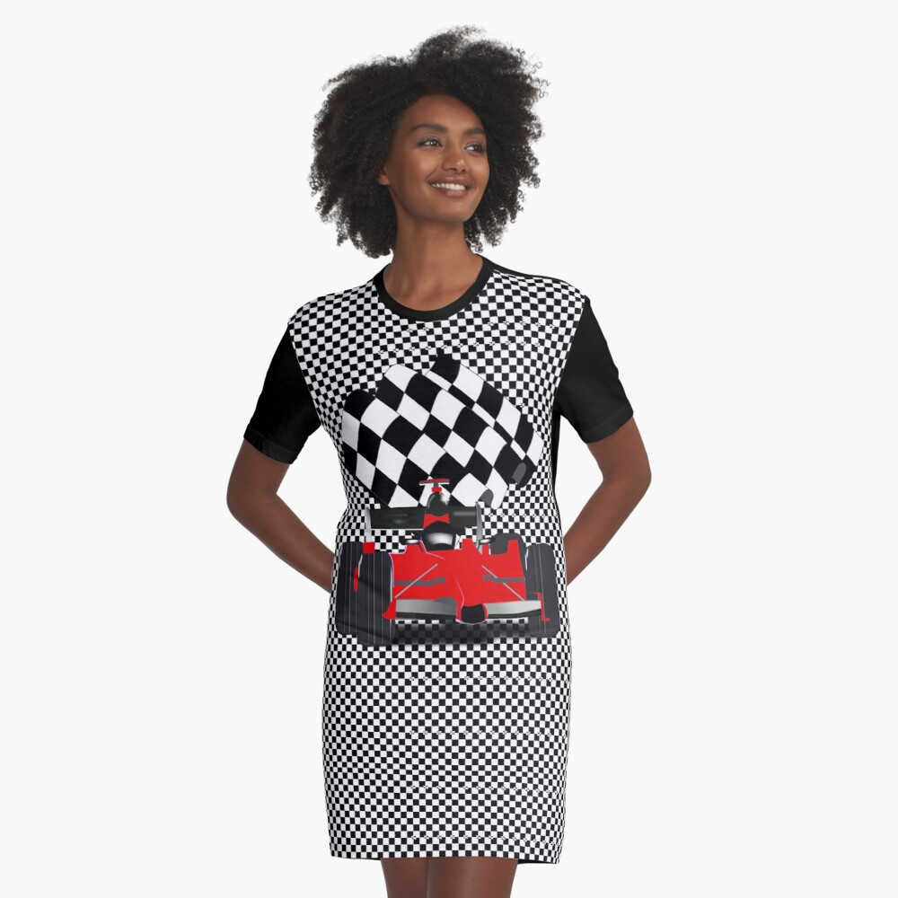 Red  Race Car with Checkered Flag Graphic T-Shirt Dress