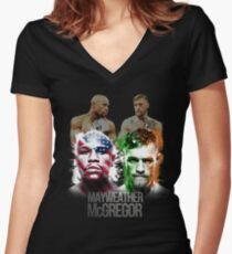 Time Money Fight Women's Fitted V-Neck T-Shirt