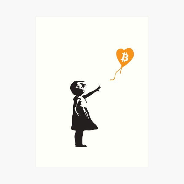 Bitcoin Balloon Girl - Banksy Loves Bitcoin Series (the ORIGINAL design) Art Print