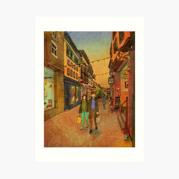 Holding hands and walking together Art Print