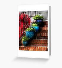 Four Blue Pots Greeting Card