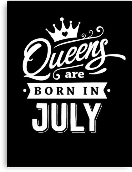Lienzos «Queens nace en julio - ¡Blanco sobre negro, diseño de ...