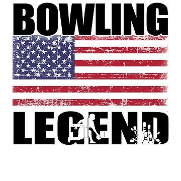 Bowling Legend Bowler Flag Cool Sports T Shirt by techman516
