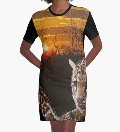 Fire Leopard Graphic T-Shirt Dress