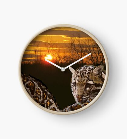 Fire Leopard Clock