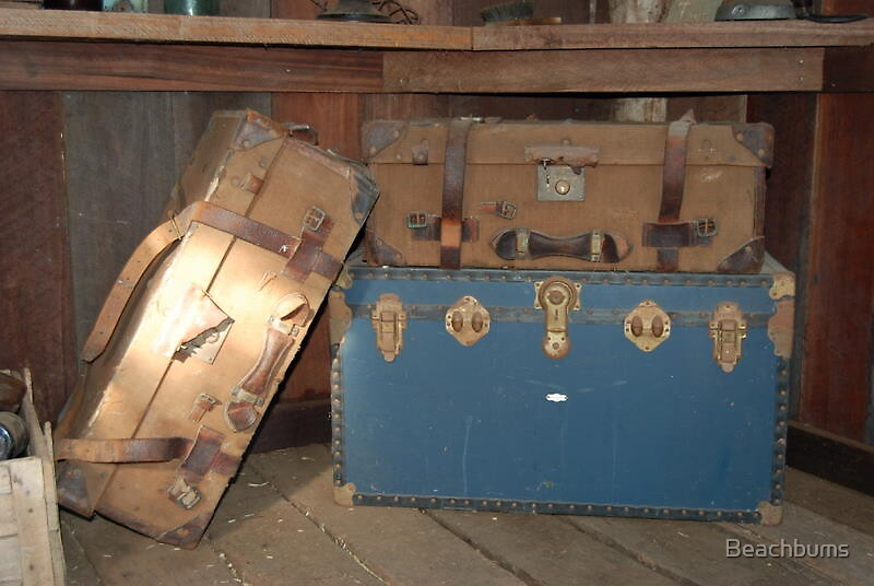 Old suitcases in the tack shed by Beachbums