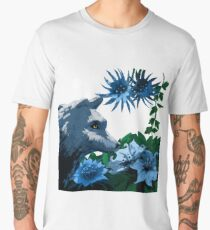 White Wolf in a Moonlit Garden Men's Premium T-Shirt