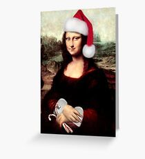 Mona Lisa Wearing a Santa Hat Greeting Card