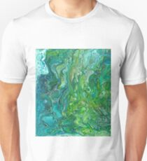 Poured paint - blues and lush greens Unisex T-Shirt