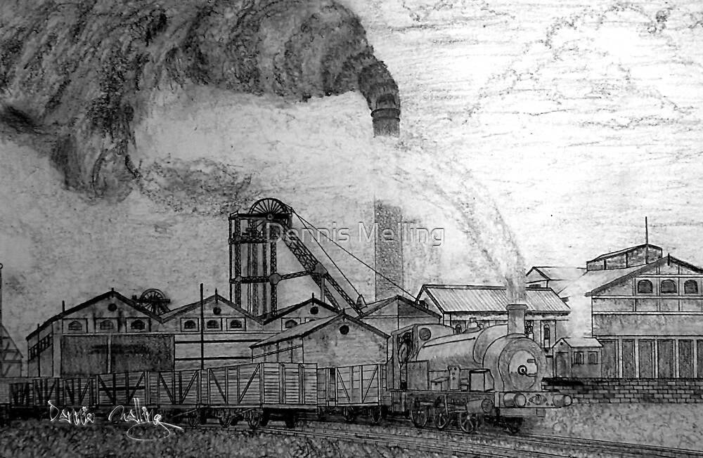My pencil drawing of an old colliery in yorkshire by dennis melling