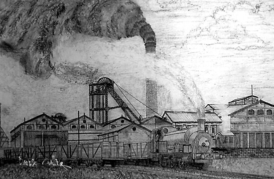 My pencil drawing of Frickley Colliery, Yorkshire 1920 by Dennis Melling