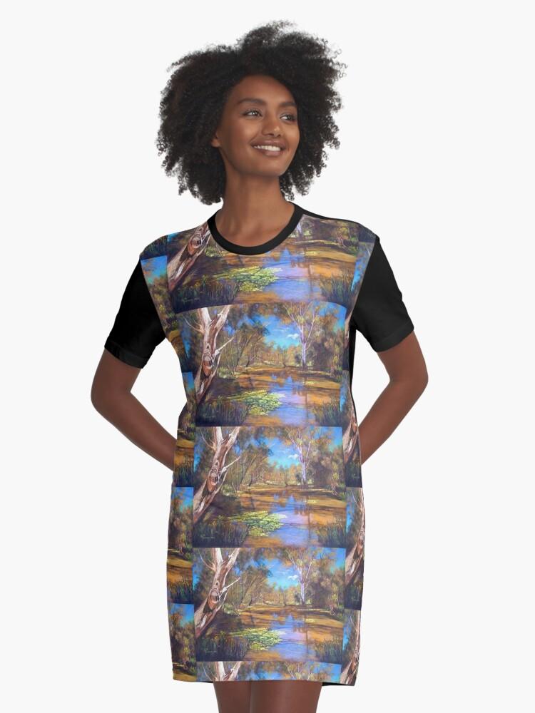 'Tahbilk Wetlands' Graphic T-Shirt Dress Front