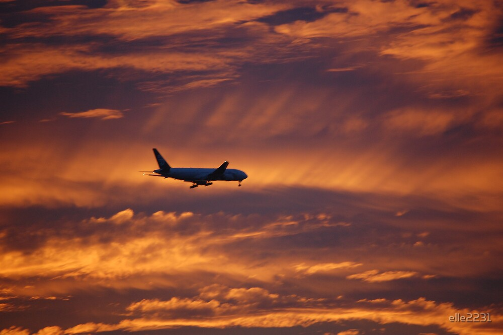 Sunset with a plane by elle2231
