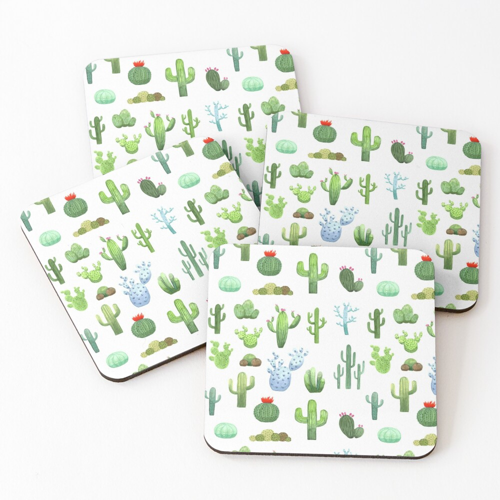 Watercolor Cactus Coasters (Set of 4)