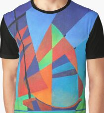 Cubist Abstract Junk Boat Against Deep Blue Sky Graphic T-Shirt