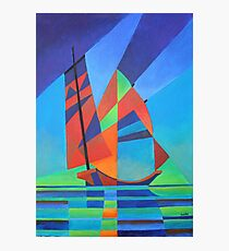 Cubist Abstract Junk Boat Against Deep Blue Sky Photographic Print
