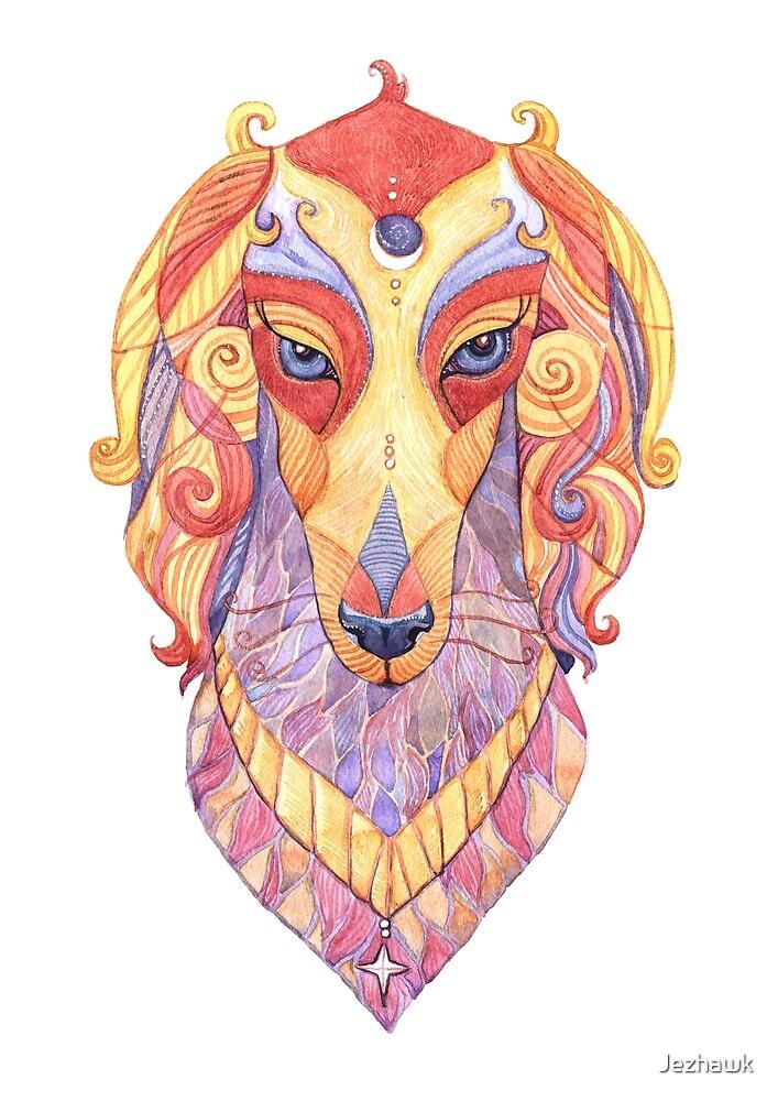 Saluki Totem - Watercolour by Jezhawk