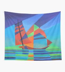 Cubist Abstract Junk Boat Against Deep Blue Sky Wall Tapestry