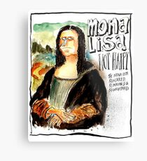 Mona Lisa - Not Happy Metal Print
