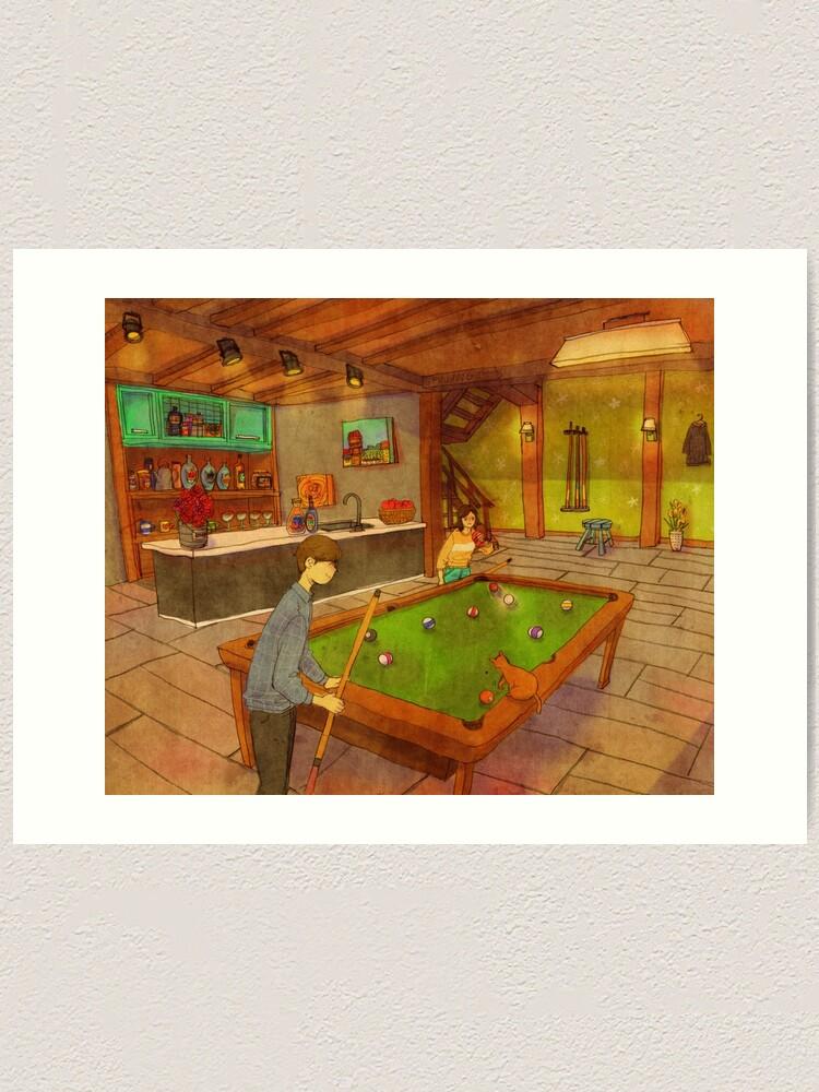 Alternate view of Playing pool Art Print