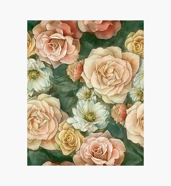 Rose floral pattern by strijkdesign