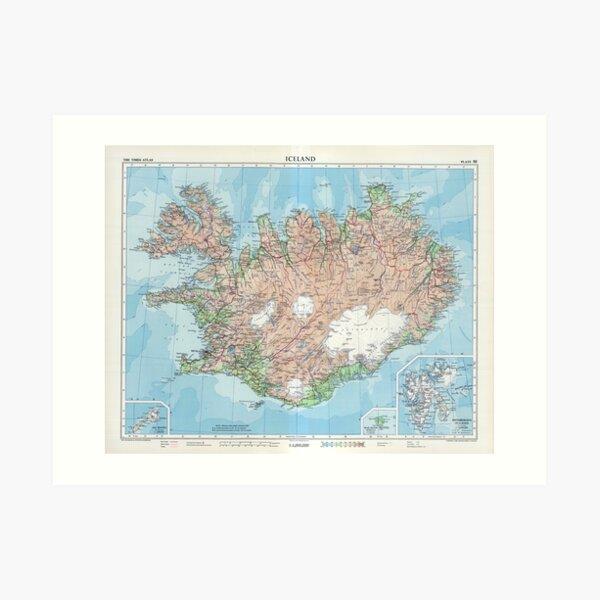 Vintage Map of Iceland Art Print