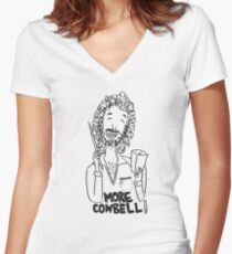 More cowbell - black image Women's Fitted V-Neck T-Shirt