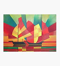 Cubist Abstract of Junk Sails and Ocean Skies Photographic Print