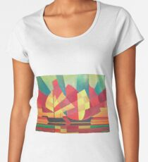 Cubist Abstract of Junk Sails and Ocean Skies Women's Premium T-Shirt