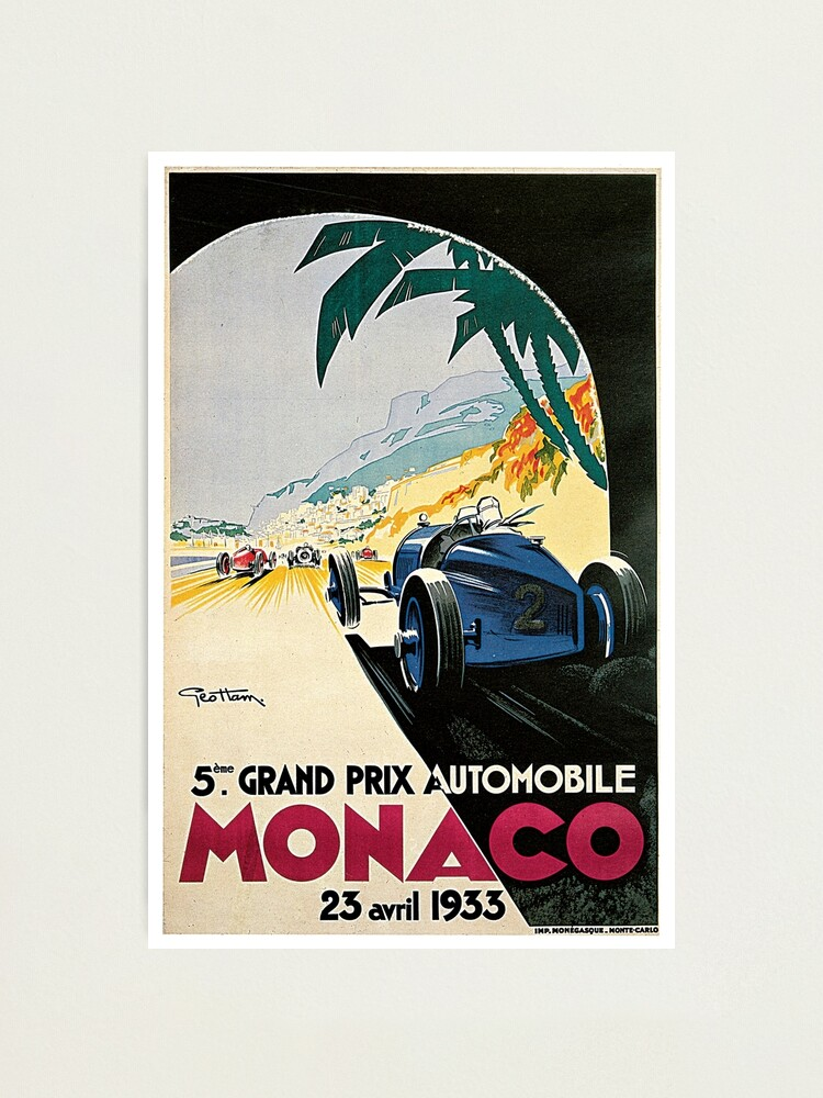 1935 Monaco French Grand Prix Art Automobile Race Advertisement Vintage Poster