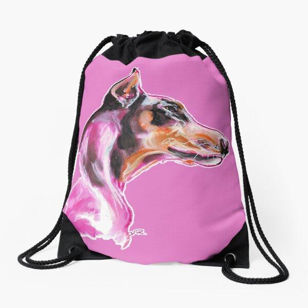 Doberman à la Pink Drawstring Bag
