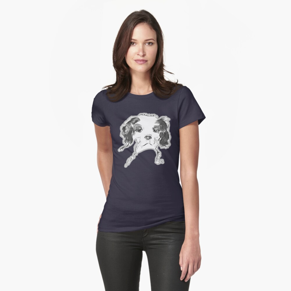 Cavalier King Charles Spaniel Puppy Drawing Womens T-Shirt Front