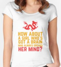 How About a Girl Who's Got a Brain? Women's Fitted Scoop T-Shirt