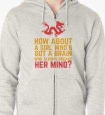 Wie wäre es mit einem Mädchen, das ein Gehirn hat? Kapuzenjacke