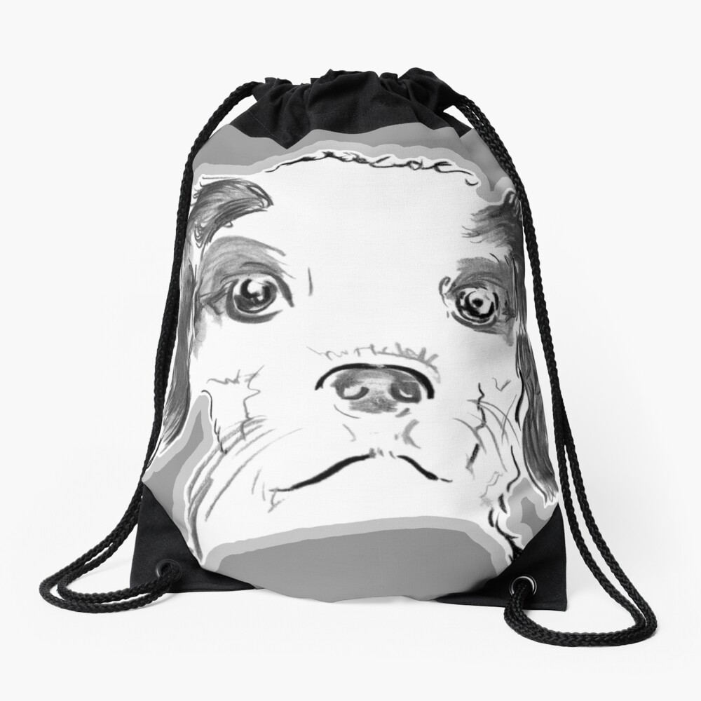 Cavalier King Charles Spaniel Puppy Drawing Drawstring Bag