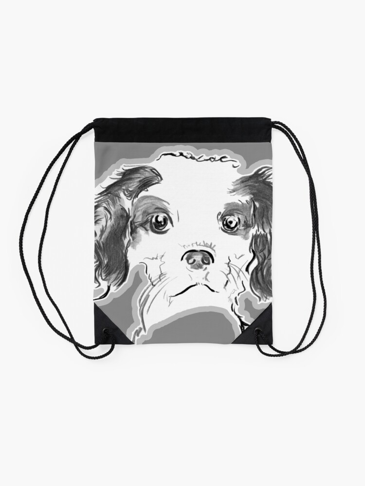 Alternate view of Cavalier King Charles Spaniel Puppy Drawing Drawstring Bag
