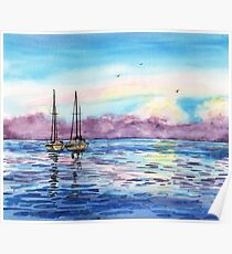 Seascape With Two Sailboats Poster