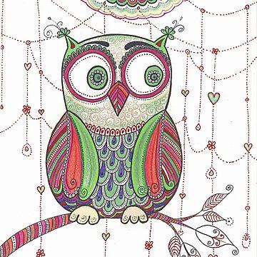 Owl Original Drawing, Owl Poster, Zentangle Art Pattern by DhanaART