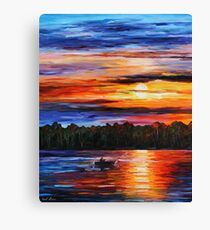 Fishing by the Sunset Canvas Print