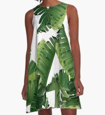 Bananenblätter Grün A-Linien Kleid